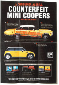 Print ad informing the public how to identify counterfeit Mini Coopers