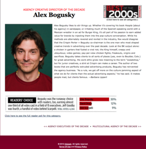 screenshot of The bad webpage for the baddest award in the ad industry. Bogusky, Creative director of the decade