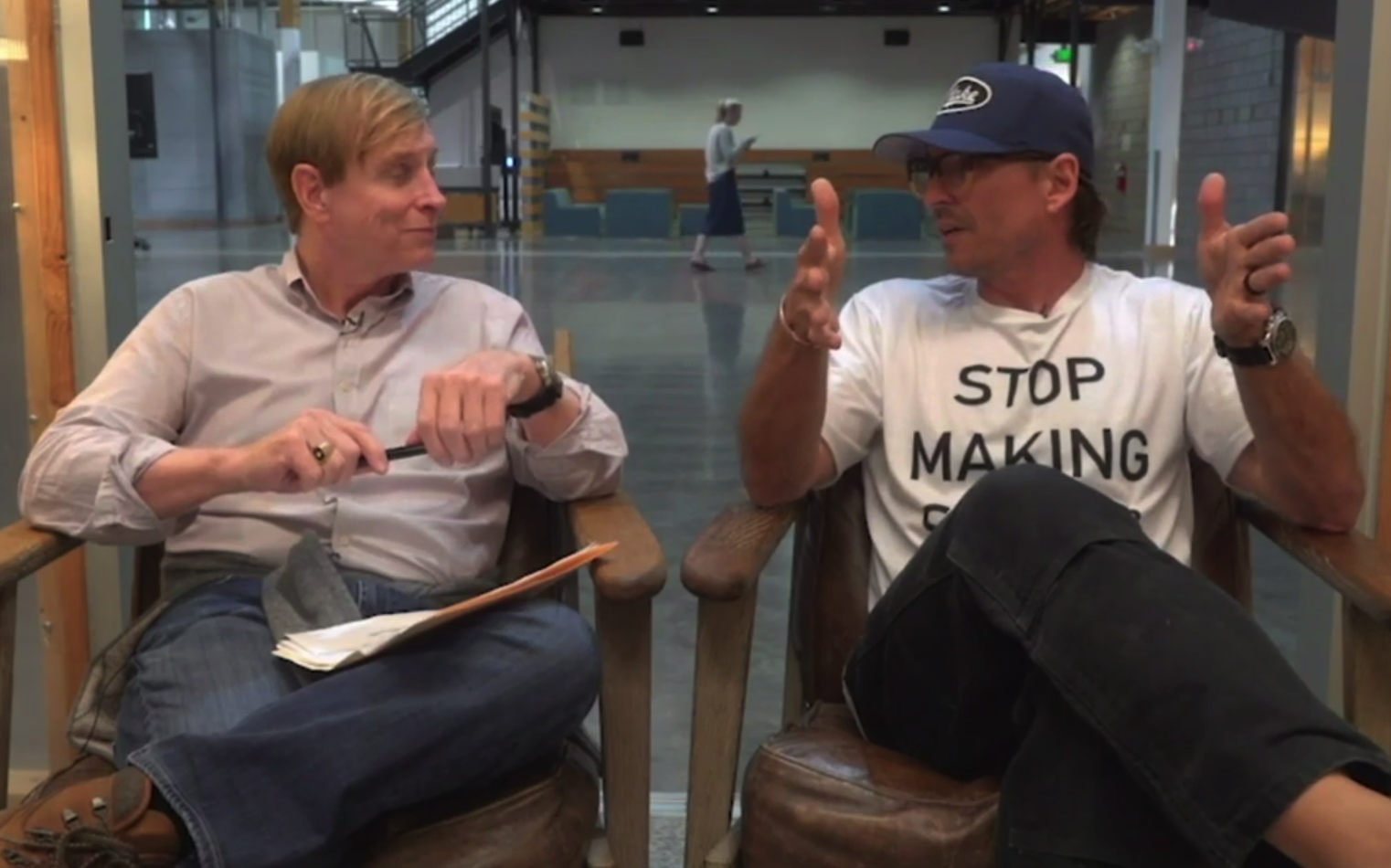 Russ Klein and Alex Bogusky as Alex explains how his _______ is bigger than Russ's