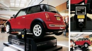 Mini Cooper rides in a dime store amusement style